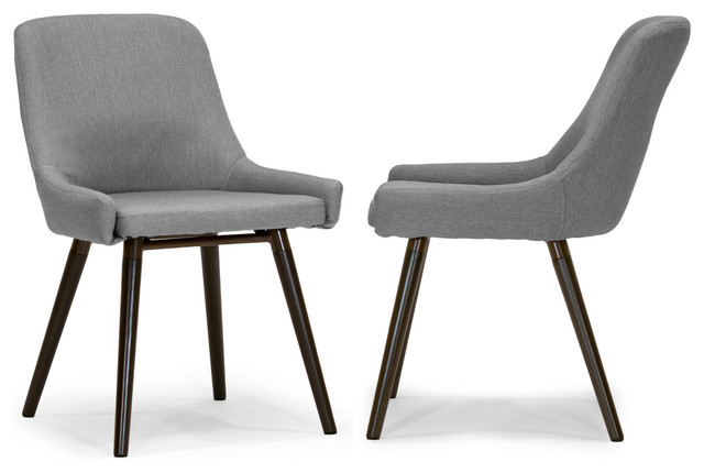 ade modern gray fabric dining chairs with beech legs, set of 2 midcentury- RKPWJEI