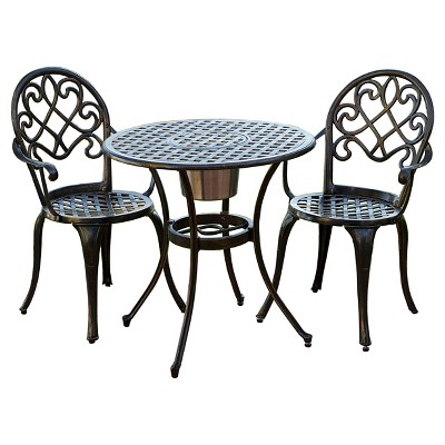 aluminum patio furniture angeles 3pc cast aluminum patio bistro furniture set with ice bucket - CMPMGZQ
