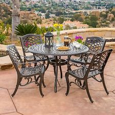 aluminum patio furniture outdoor patio furniture 5pcs bronze cast aluminum dining set CKORLQI