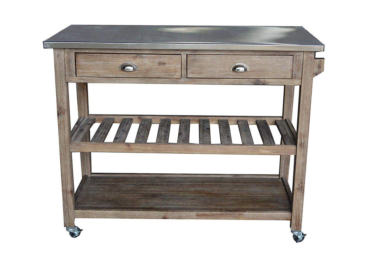 amazon.com - boraam 98520 sonoma wire-brush kitchen cart - bar u0026 serving ORXHHUK