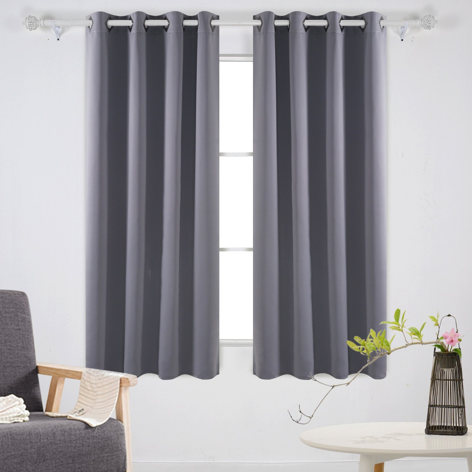 amazon.com: deconovo solid room darkening curtains thermal insulated  blackout curtains grommet blind OAAAURT