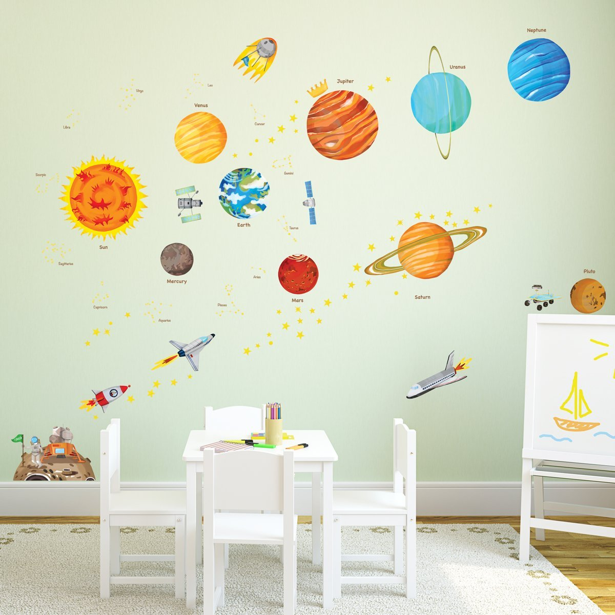 amazon.com: decowall da-1501 the solar system kids wall decals wall  stickers peel LFMBIJX