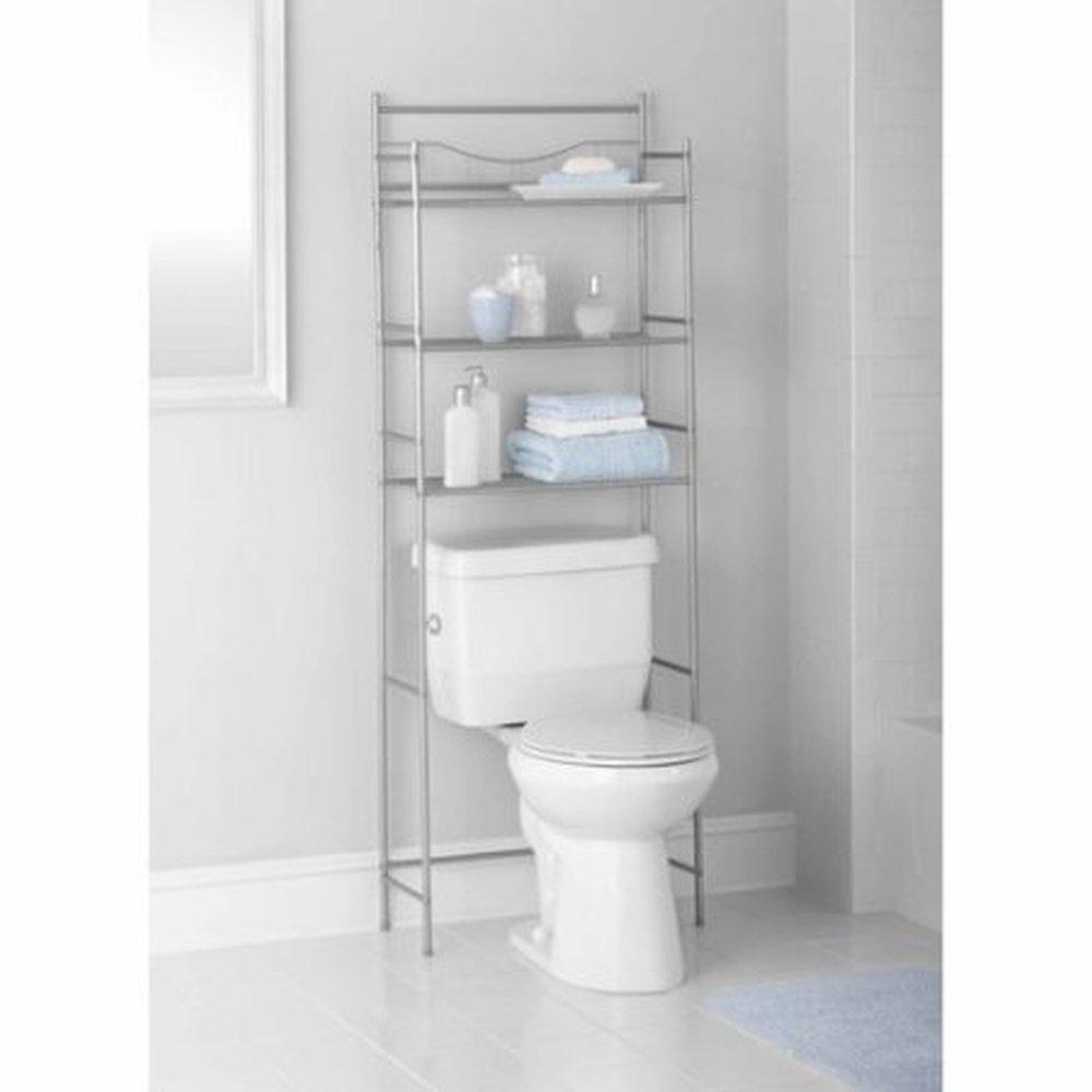amazon.com : mainstays 3-shelf bathroom space saver, satin nickel finish : TRHMYRQ
