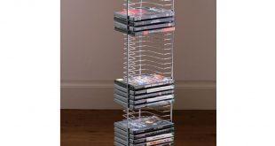 amazon.com: tower - free standing dvd storage rack - silver by payless JPFERFS