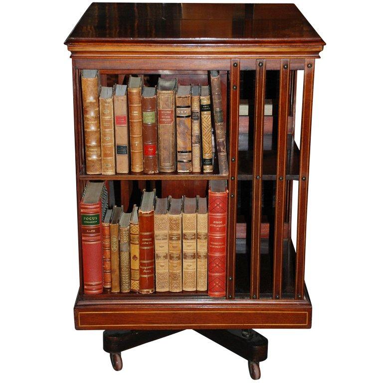 antique english revolving bookcase, c.1879-80 1 WZUHIGU