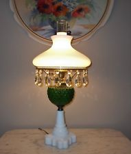 antique lamps new listingvtg fenton green diamond quilt student lamp gwtw, milk glass BIEJSJO