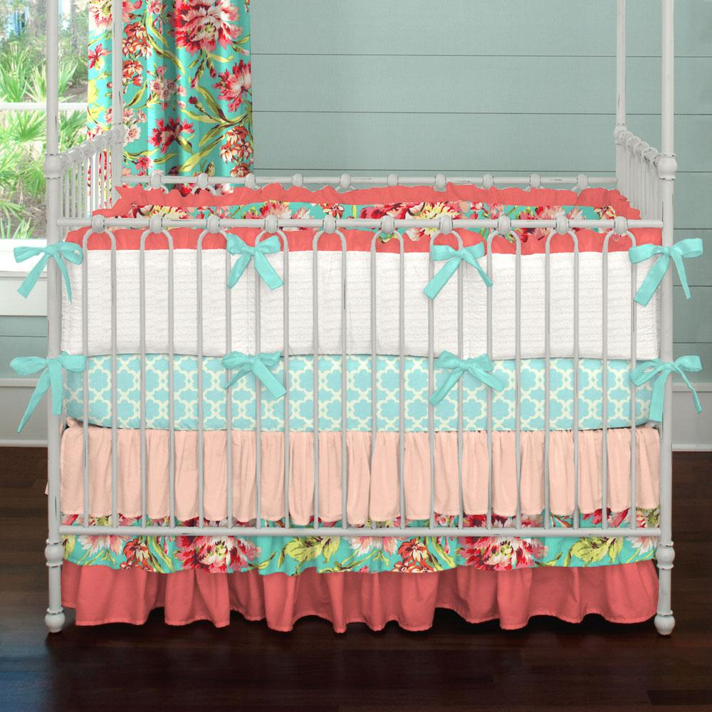 baby bedding for girls ... coral and teal floral crib bedding PRQLGTB