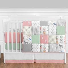 baby bedding for girls coral, mint and grey woodsy deer baby bedding - 9pc girls crib ISQJMTC