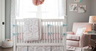 baby bedding for girls ... pink and gray rosa crib bedding LPVLJIO