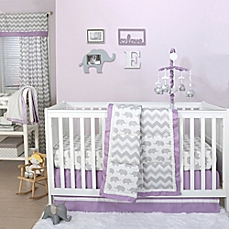 baby bedding image of the peanut shell® elephant crib bedding collection in grey/purple YMSVJUA