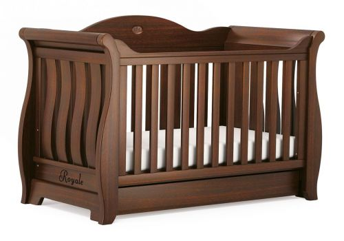 baby cot sleigh royale cot bed - english oak QDFNBDT