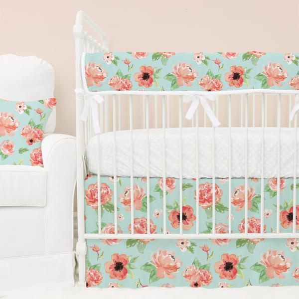 baby girl bedding mint u0026 coral floral baby girl crib bedding collection SIMFKQI
