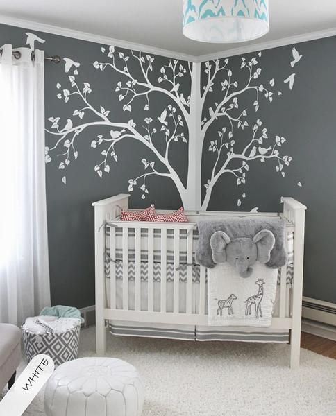 baby room decor baby bedroom home art decor cute huge tree with falling leaves and XLROACG