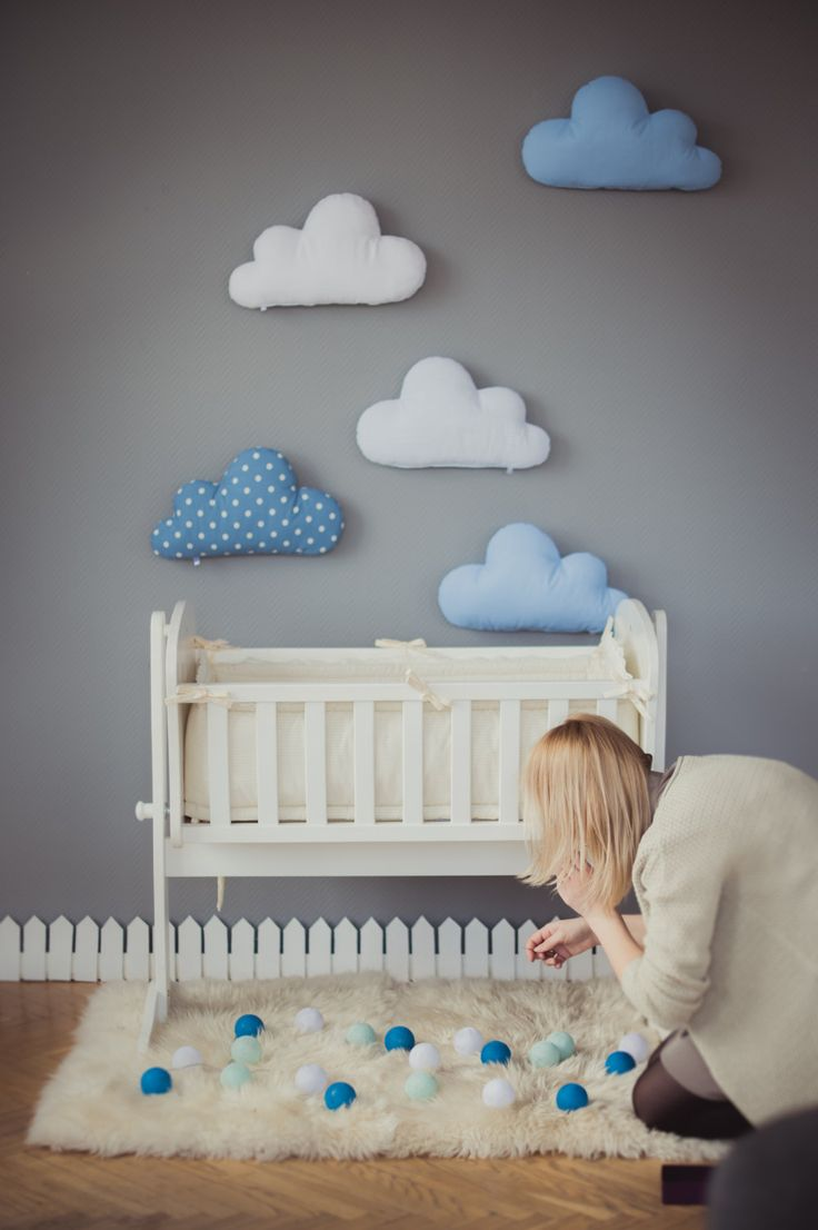 baby room decor kids stuffed cloud shaped pillow - gift ideas baby toddler mobile - NADQBCF
