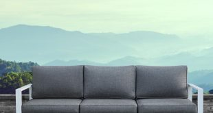 baltic white aluminum outdoor sofa with gray cushions TREHWIU