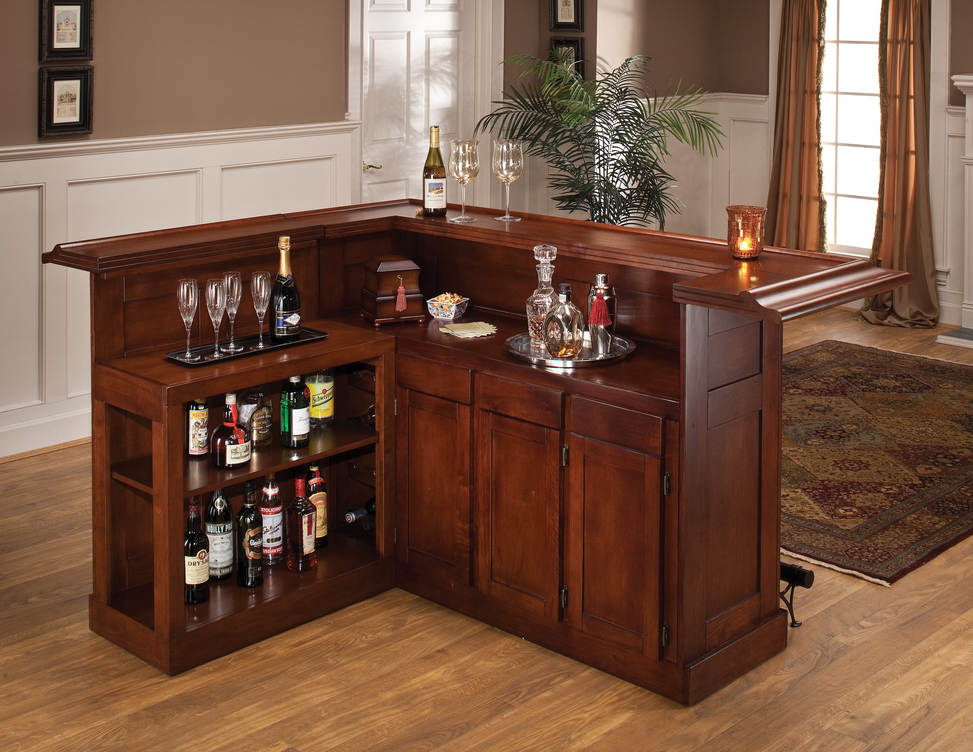 bar furniture classic cherry bar with side bar magnifier FAGQRZD