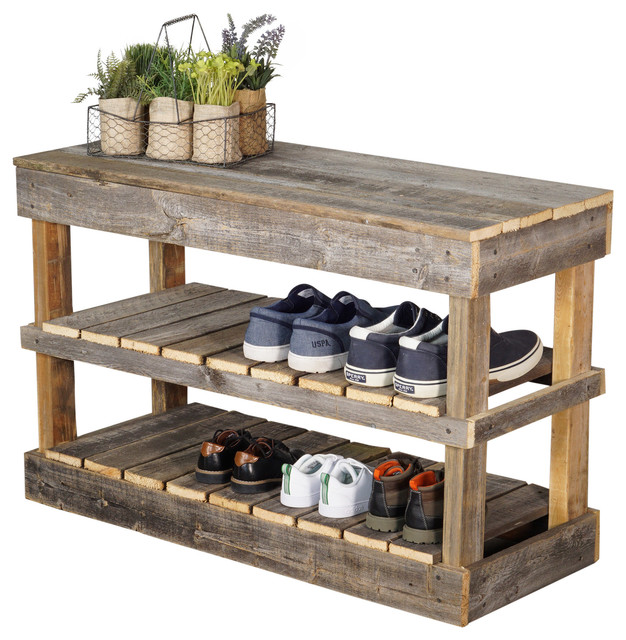 barn wood shoe rack, natural farmhouse-shoe-storage PXTCSPG