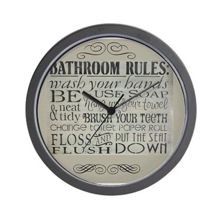 bathroom clocks bathroom rules wall clock OTHWGAK