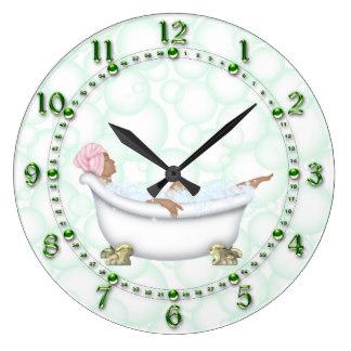 bathroom clocks green bathroom shiny numbers bubbles large clock ESTSORL