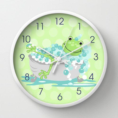 bathroom clocks green frog in tub childu0027s bathroom clock, kids bath decor, 10 DNQDRVJ