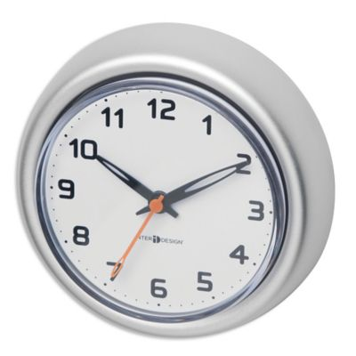 bathroom clocks interdesign rust-proof aluminum suction clock in silver BGPEJRX