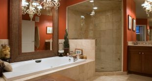 bathroom colors rich mahogany with white and gray WJPQTEH