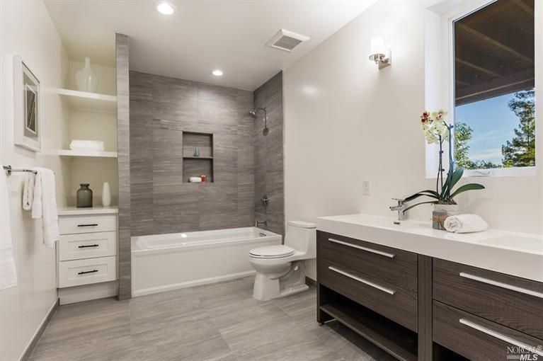 bathroom design 4 tags contemporary full bathroom with limestone counters, wall sconce,  grey GJMTDVA