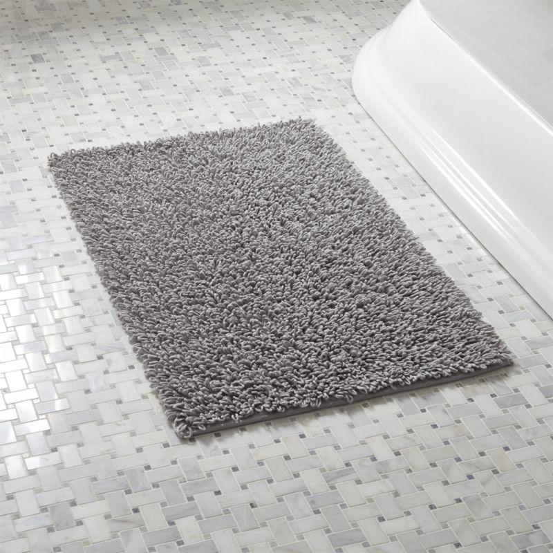 bathroom mat loop light grey bath rug | crate and barrel IADOUCL