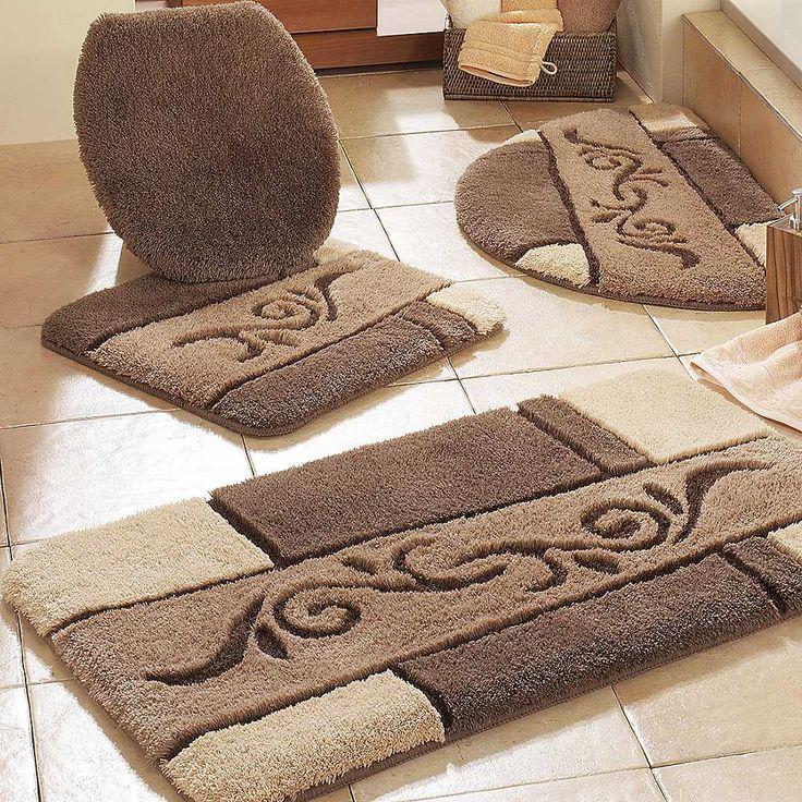 bathroom mats contemporary bathroom with brown bathroom rug sets and beige ceramic floor OZVYKLB