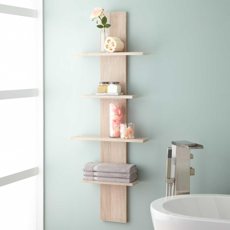 bathroom shelves wulan hanging bathroom shelf - four shelves - whitewash BSIWRTP