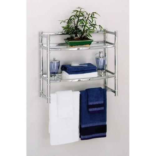 bathroom shelves zenith wall shelf with 2 glass shelves, chrome finish OFYBQEL