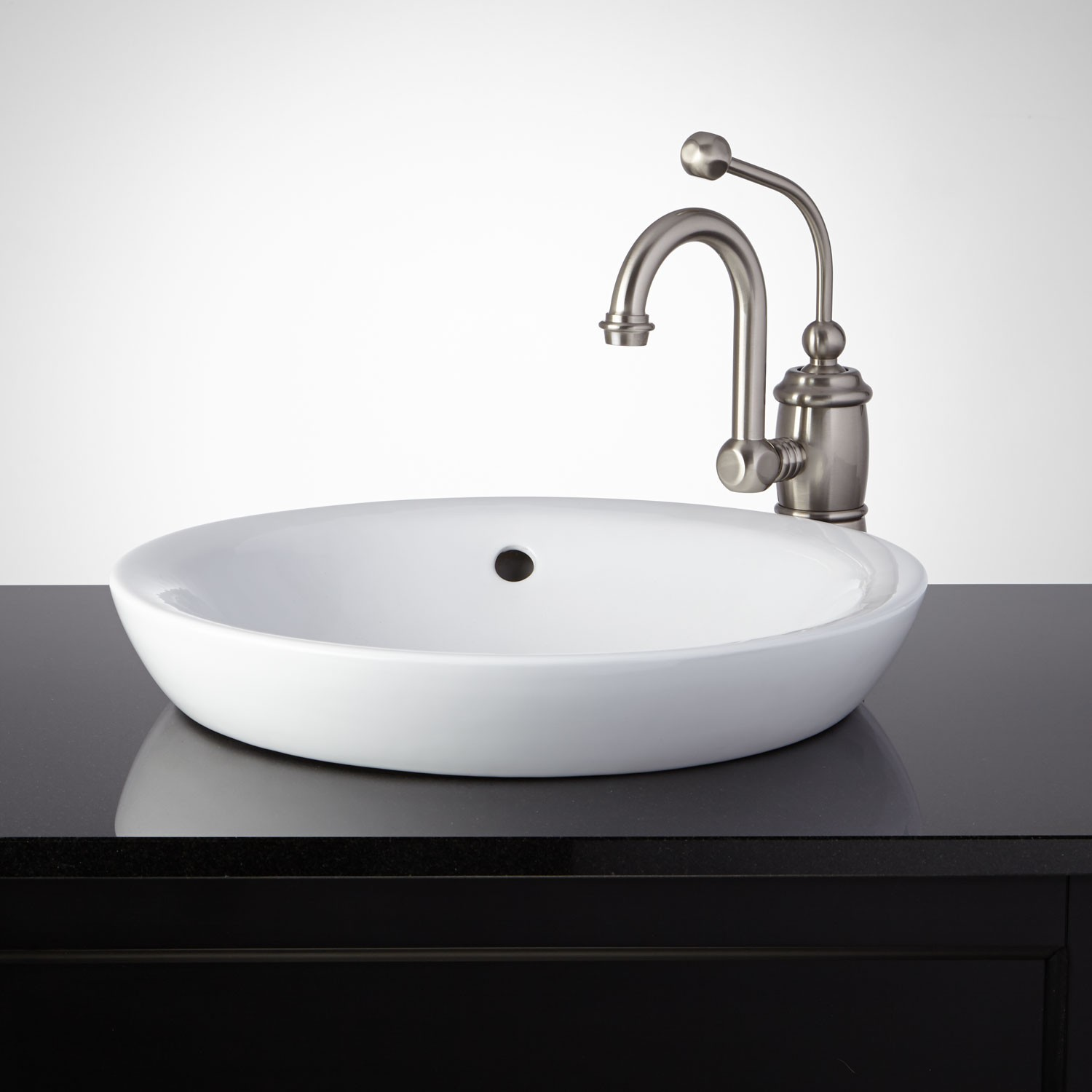 bathroom sinks ... this semi-recessed porcelain sink gives your bathroom a stylish, modern DASNMAG