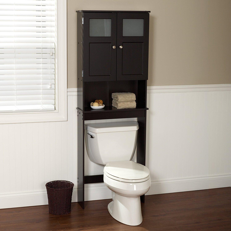 bathroom space saver amazon.com: zenna home 9820chbb, bathroom spacesaver, espresso/frosted  glass: home u0026 kitchen ZOYLHMS