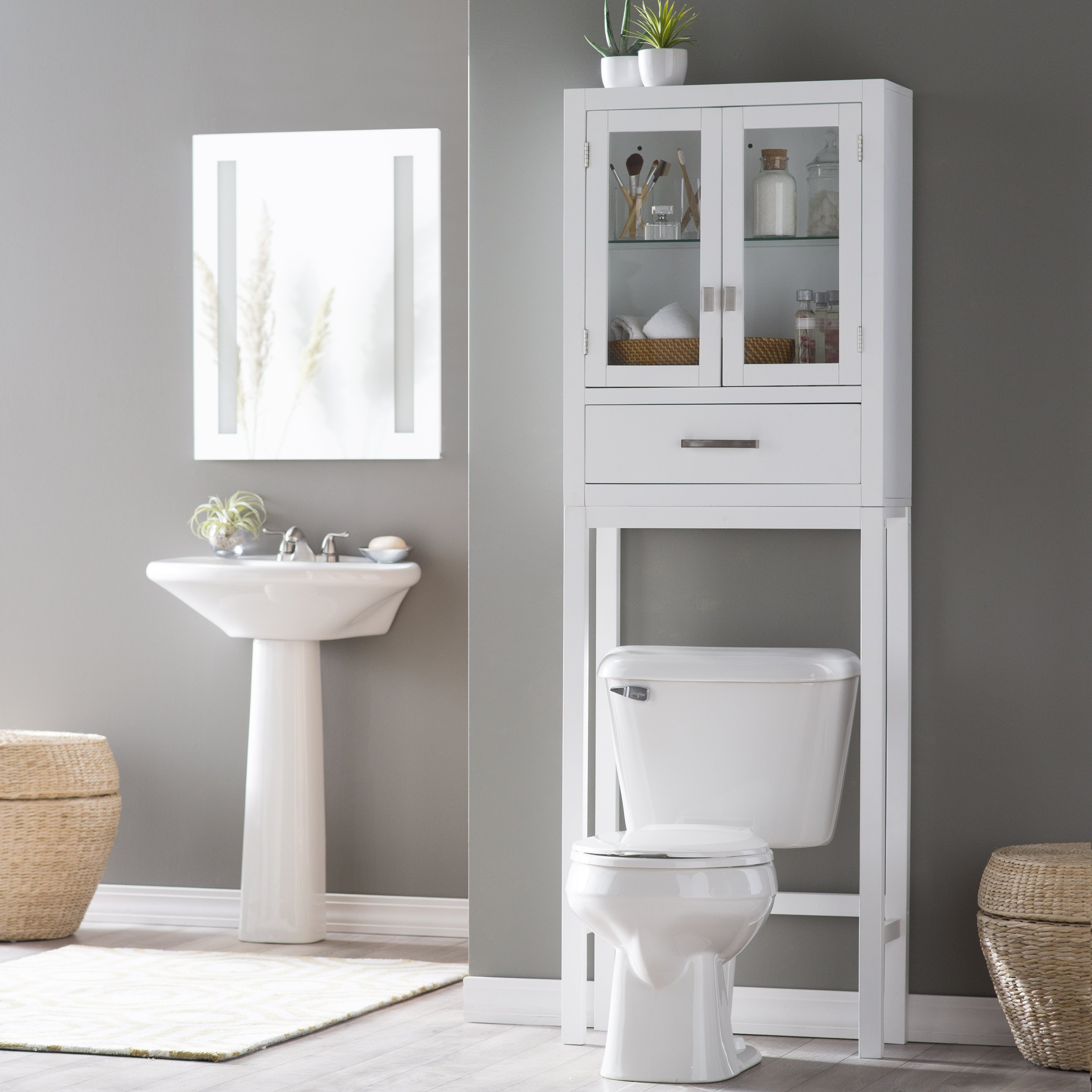 bathroom space saver belham living longbourn over-the-toilet space saver with removable legs |  hayneedle HIFRRQT
