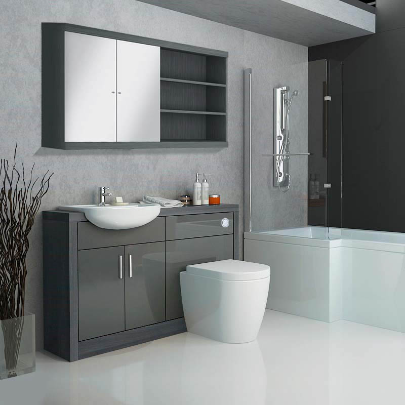 bathroom units hacienda fitted bathroom furniture pack grey contemporary ... EBLIWNR