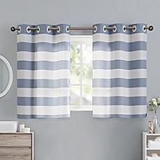 bathroom window curtains image of cabana stripe 38-inch bath window curtain tier pair in blue WPRFCXN