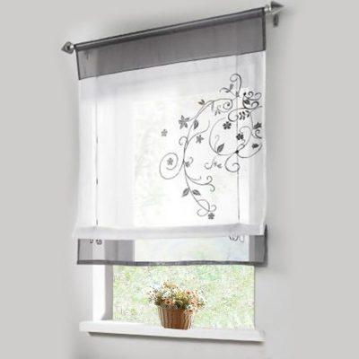 bathroom window curtains lariy 1pcs sheer roman curtains liftable embroidered windows curtain  organza panel PZKDOZO