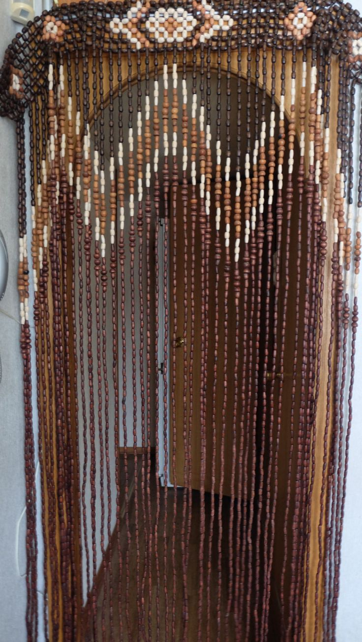 beaded door curtains vintage wood curtain, door beads, beaded curtains, beaded door curtain.  wood PGEWBPV