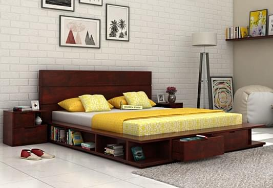 bed designs queen size bed, double bed with storage at best prices online HLXLNBN
