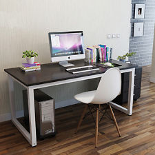 bedroom desk modern walnut wooden u0026 metal computer pc home office desk / study VOJWMFE