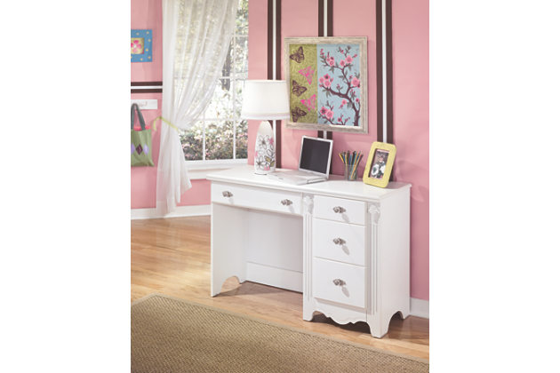bedroom desk white student desk with drawer and cabinet with nickel knobs AFWDEHR
