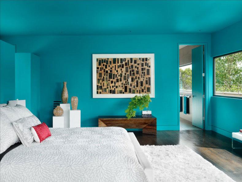 bedroom paint ideas bold turquoise DXRFNSJ