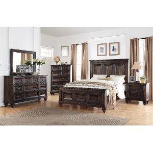 bedroom sets ... classic traditional walnut brown 6-piece queen bedroom set - sevilla ... JSBXRCE