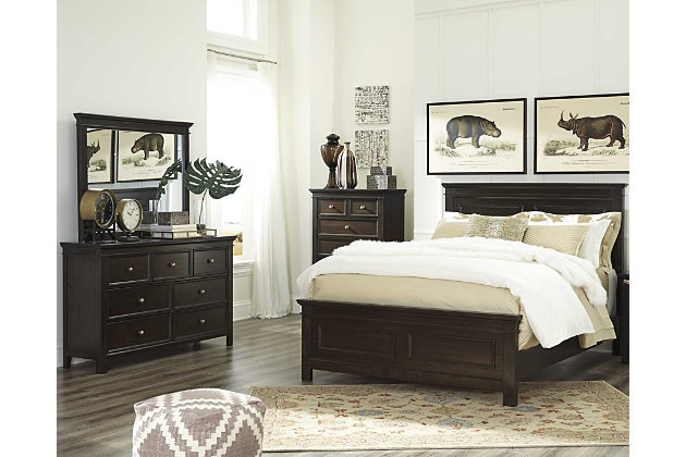 bedroom sets dark brown alexee 5-piece king bedroom view 1 ZRFUPAL