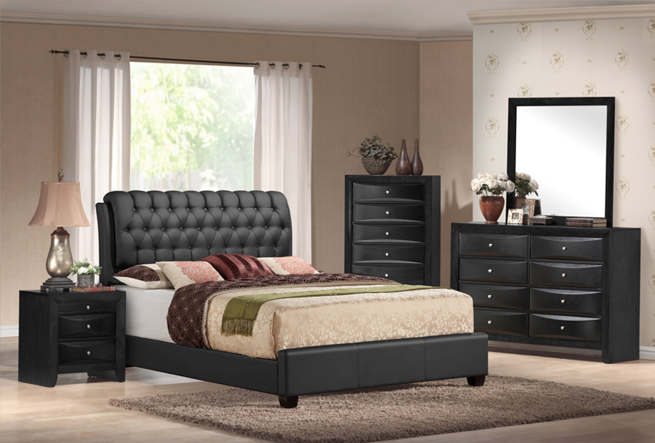 bedroom sets emily black tufted 5 piece bedroom set OXKQSEY