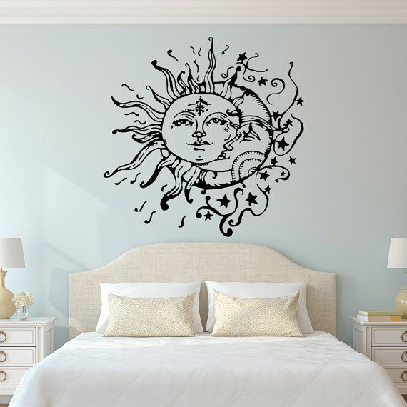 bedroom wall stickers sun and moon wall decal- sun moon and stars wall decals ethnic RPGNJWA
