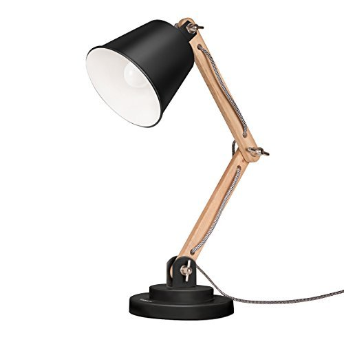bedside lamp tomons swing arm desk lamp, natural wood table lamp, reading lights, work WWNJDQI