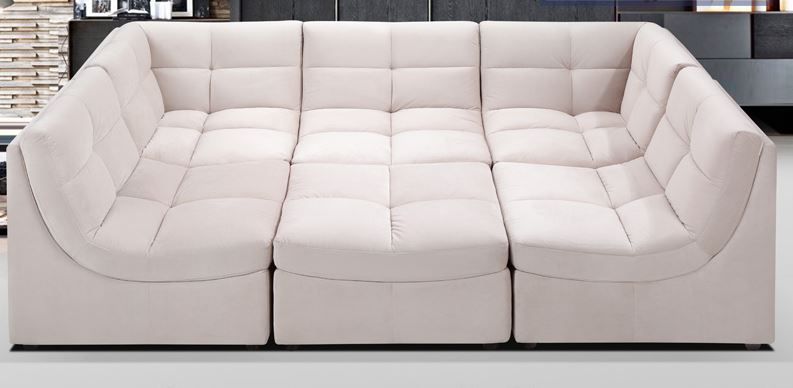 beige upholstered fabric modular sectional sofa beige upholstered fabric modular  sectional sofa ZUJQFVR