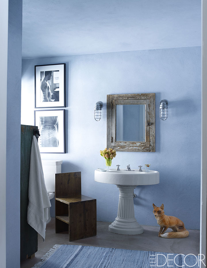 best bathroom colors - ideas for bathroom color schemes - elle decor NSEJLMW