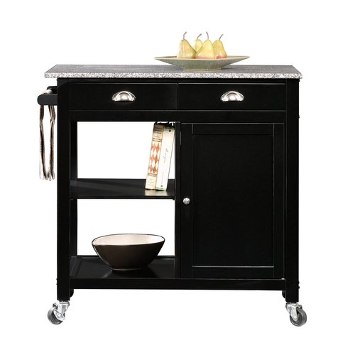 better homes and gardens kitchen cart, black/granite YLYGSTE